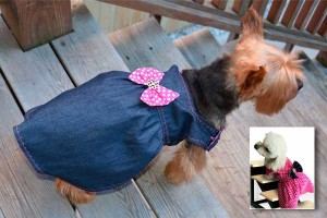 Reversible blue jean dress for dogs